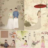 背景布 新款古典工筆畫古裝拍照主題背景全家福旗袍寫真影樓兒童攝影背景壁貼壁紙