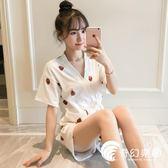 睡衣-草莓和服睡衣女夏季短袖純棉兩件套裝韓版清新學生寬松少女家居服-奇幻樂園