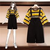 套裝 胖MM背帶短褲套裝2020年夏季新款大碼女裝寬鬆減齡洋氣短袖兩件套