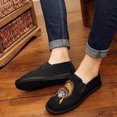 新款中國風男士休閒刺繡繡花鞋 老北京布鞋平底一腳蹬單鞋