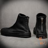 馬丁靴男保暖氣質短靴子中高筒百搭工裝靴【橘社小鎮】