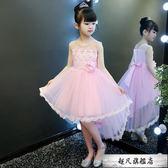 兒童禮服夏季公主裙女童蓬蓬裙女孩連身裙洋氣演出服韓版拖尾洋裝-超凡旗艦店