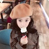 秋冬潮英倫公主帽羊毛蓓蕾帽韓版親子女畫家帽保暖母女大童貝雷帽