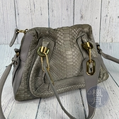 BRAND楓月 Chloe 灰色蛇皮PARATY 兩用包 手提包 肩背包 側背包 斜背包 拼皮 小牛皮 拉鍊