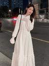 洋裝 氣質溫柔風法式收腰顯瘦內搭打底加絨加厚白色連衣裙仙女長裙【新年禮物】