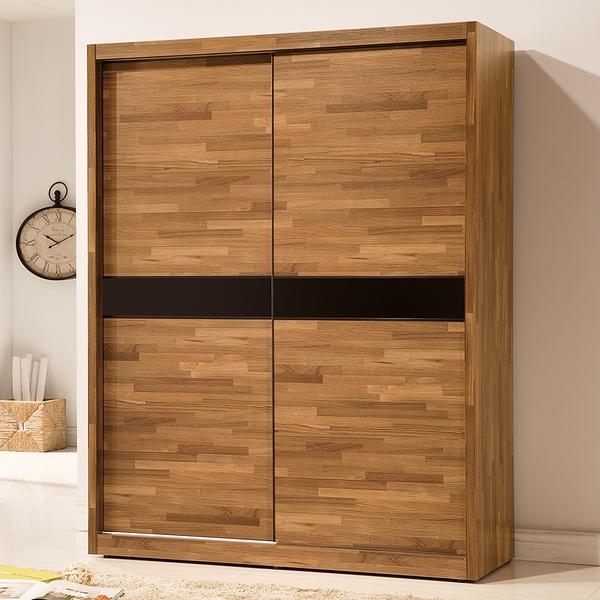 【森可家居】巴菲特5x7尺推門衣櫃 8ZX373-3 衣櫥 木紋質感 工業風 左右拉門