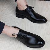 休閒皮鞋男商務正裝青年尖頭英倫韓版潮皮質黑色內增高男鞋秋季