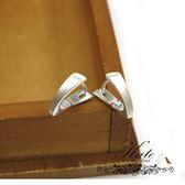 銀飾純銀耳環 義大利款 霧銀 細刷髮絲 壓扣 925純銀耳環 KATE 銀飾
