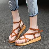夏季學生鬆糕平底鞋子 大碼羅馬厚底涼鞋《小師妹》sm781