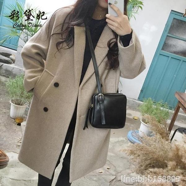 長版大衣 秋冬新款外套女韓版修身顯瘦中長款奶茶色呢子大衣學生潮 城市科技