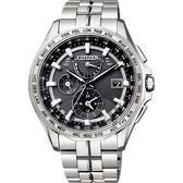 加碼第3年保固*贈鱷魚皮錶帶 CITIZEN 星辰 光動能電波鈦金屬腕錶-灰x銀/42mm AT9091-51H