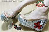 ALICE SHOES艾莉易購網311 新款素面透明水鑽楔型厚底拖鞋