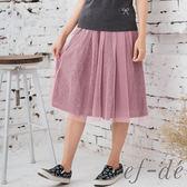 【ef-de】激安 網紗蕾絲花半身褲裙(粉)