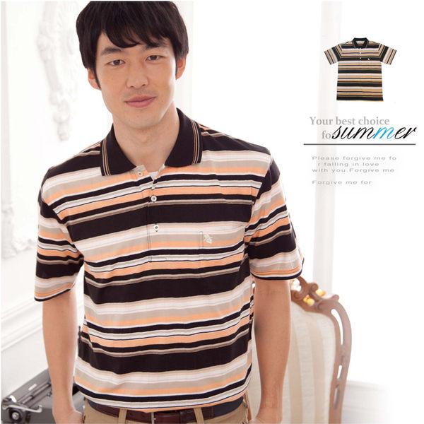 【大盤大】(P60671) 春 夏 男POLO衫 短袖 橫條紋 運動衫 辦公 休閒衫 有領棉衫 有加大尺碼