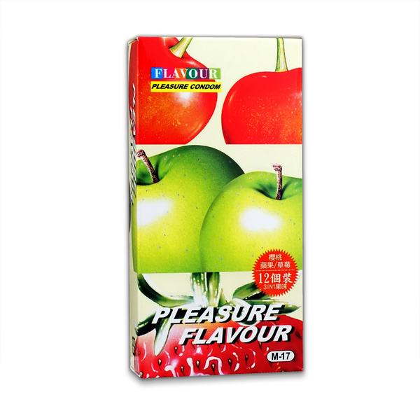 PLEASURE樂趣. 螺紋顆粒 (3合1) 保險套-櫻桃/蘋果/草莓味 (3款X4共12枚)