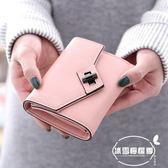 新款錢夾女韓版時尚簡約純色大容量三折復古學生ins短款錢包