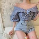 一字領上衣 短款短袖修身條紋設計感襯衣女春夏季2021新款一字肩小眾襯衫上衣 愛丫 免運