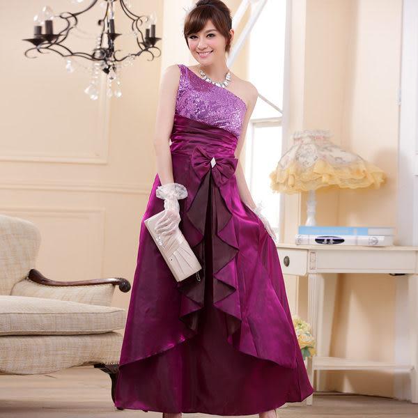 雍容華貴時尚單肩亮片壓褶蝴蝶結長版晚禮服連身長裙 共三色-美之札
