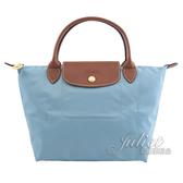 茱麗葉精品【全新現貨】Longchamp Le Pliage 折疊短肩揹帶手提包.水藍 小 #1621