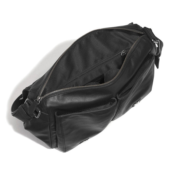 COACH 男士真牛皮單肩斜挎包 休閑包 F71477 黑色