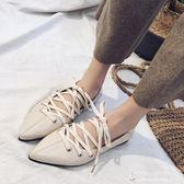 春季尖頭交叉綁帶平底鞋女淺口繫帶百搭芭蕾舞鞋兩穿單鞋 【東京衣秀】