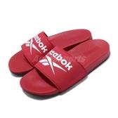 Reebok 涼拖鞋 Comfort Slide 2.0 紅 白 男鞋 女鞋 基本款 復古LOGO 舒適好穿 拖鞋【ACS】 FU7208