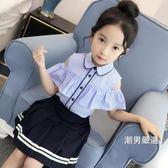 短袖襯衫 女童襯衫短袖中大童格子娃娃衫露肩上衣2018新品童裝夏裝兒童襯衣(一件88折)