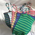 背心/小可愛 泫雅風撞色漏背彩虹條紋針織吊帶背心外穿女無袖T恤內搭打底上衣