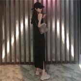 性感慵懶吊帶連身裙女開叉修身顯瘦長裙【不二雜貨】