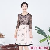 【RED HOUSE 蕾赫斯】透膚蕾絲印花洋裝(粉橘色)
