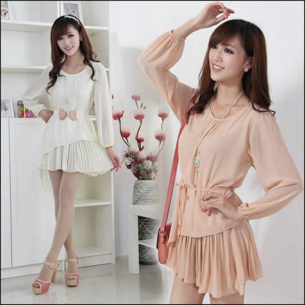 雪紡洋裝【艾美天后】韓版春夏時尚新款長袖。連身裙。雪紡上衣