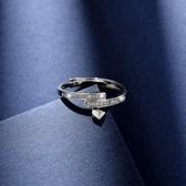 情侶戒指愛心對戒日韓潮人學生個性開口指環簡約時尚仿真鑽戒
