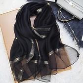杭州圍巾女薄款披肩絲巾長款春秋個性時尚洋氣百搭紗巾真絲桑蠶絲 安雅家居館