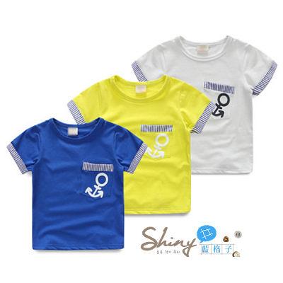 【R5367】shiny藍格子-嬰幼館.春裝新款男童船貓圓領短袖上衣