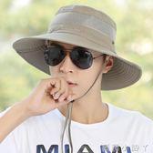 漁夫帽戶外釣魚帽夏天太陽帽防紫外線男士夏季防曬遮陽登山帽 全館免運