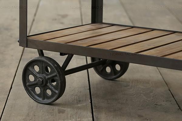 loft工業風美式鐵藝實木餐車時尚酒水手推車創意移動廚房架餐邊柜 童趣潮品