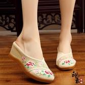 中國風繡花布鞋拖鞋時尚高坡跟休閒涼拖鞋女鞋 萬聖節鉅惠