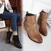 粗跟短靴-復古擦色時尚皮帶扣女馬丁靴2色73is21[時尚巴黎]