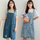 MIUSTAR 可調式肩帶雙口袋小刷破吊帶裙(共2色)【NJ1739】預購