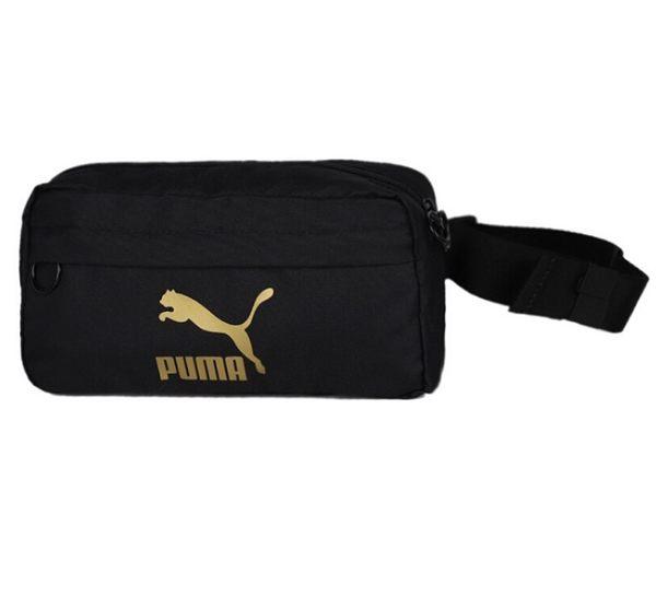 PUMA ORLIGINALS 側背包 腰包 黑金 金LOGO (布魯克林) 07664601