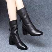 足意爾康中筒靴女粗跟2020秋冬新款短靴棉鞋高跟單加絨馬丁靴 【年貨大集Sale】