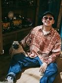 夏威夷男裝 原創橘棕色腰果襯衫男長袖夏威夷日系襯衫男花襯衫嘻哈襯衫大碼 星河光年