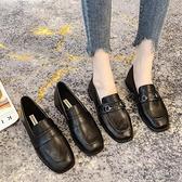 小皮鞋 加絨小皮鞋女英倫風秋冬新款百搭軟皮軟底一腳蹬工作平底單鞋【快速出貨】