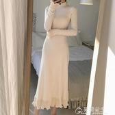 針織裙配大衣的長裙子女春秋裝新款修身長款過膝內搭毛衣針織洋裝 快速出貨