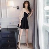 洋裝 春裝2020年新款名媛氣質性感女人味黑色裙子小禮服網紗露肩連衣裙