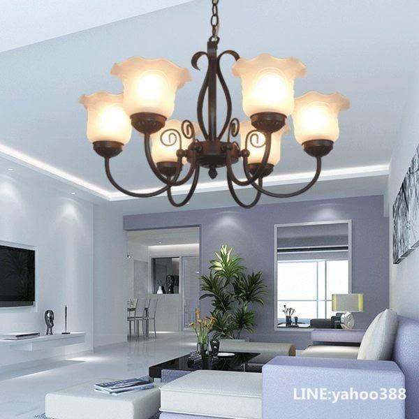 客廳燈 歐式 六頭鐵藝 餐廳書房臥室吊燈飾