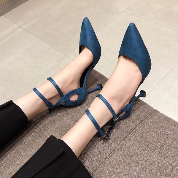 高跟鞋 春季尖頭一字帶高跟鞋女細跟百搭黑色單鞋中跟少女工作鞋 【新品】