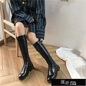 長靴 秋季新款中筒長筒高筒加絨馬丁鞋百搭瘦瘦騎士女不過膝長靴冬 【全館免運】