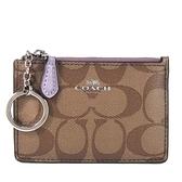 COACH 滿版防刮Logo卡片鎖圈零錢包(紫)-16107