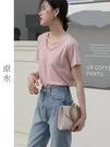 短袖T恤 2021年夏新款短袖v領純棉t恤U領鎖骨上衣心機設計感打底衫女內搭 寶貝寶貝計畫 上新